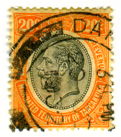 GOMEL, BELARUS, APRIL 4, 2017. Stamp printed in Tanganyika shows image of  The  George V (George Frederick Ernest Albert) was King of the United Kingdom and the British Dominions, and Emperor of India, from 6 May 1910 until his death in 1936, circa 1920.