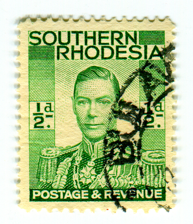 GOMEL, BELARUS, APRIL 4, 2017. Stamp printed in Southern Rhodesia shows image of  The George VI (Albert Frederick Arthur George) was King of the United Kingdom and the Dominions of the British Commonwealth, circa 1889. Editorial