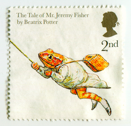 GOMEL, BELARUS, APRIL 9, 2017. Stamp printed in UK shows image of  The Tale of  Mr. Jeremy Fisher by Beatrix Potter. Editorial