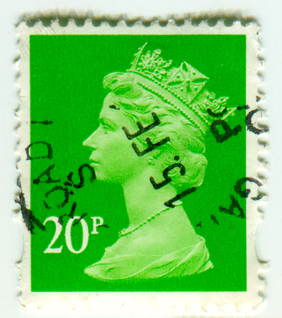 GOMEL, BELARUS, April 9 2017, Stamp printed in UK shows image of the Elizabeth II (Elizabeth Alexandra Mary) has been Queen of the United Kingdom, Canada, Australia, and New Zealand since 6 February 1952, circa 1990.