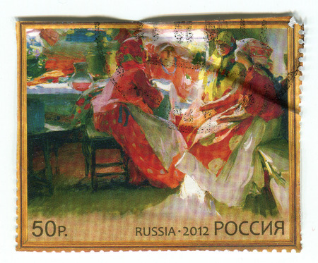 philately: GOMEL, BELARUS, APRIL 7, 2017. Stamp printed in Russia shows image of  The Painting by Abram Arkhipov Visiting, circa 2012.