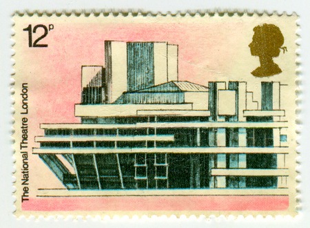 philately: GOMEL, BELARUS, APRIL 8, 2017. Stamp printed in UK shows image of  The National Theatre London, circa 2000. Editorial