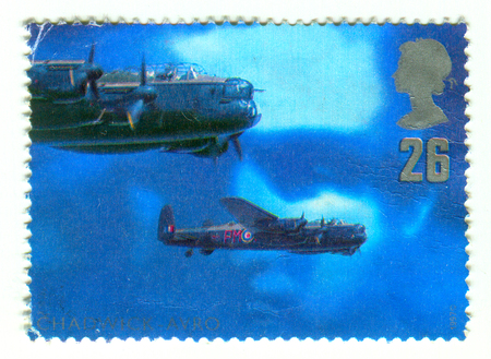 GOMEL, BELARUS, APRIL 9, 2017. Stamp printed in UK shows image of  The Roy Chadwick and Avro Lancaster Mk I , circa 1997. Editorial