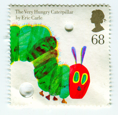 GOMEL, BELARUS, APRIL 9, 2017. Stamp printed in UK shows image of  The Very Hungry Caterpillar by Eric Carle. Editorial