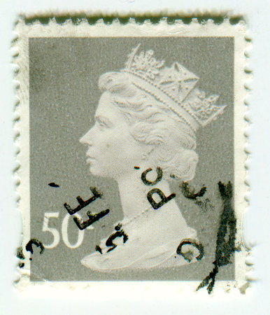 philately: GOMEL, BELARUS, April 9 2017, Stamp printed in UK shows image of the Elizabeth II (Elizabeth Alexandra Mary) has been Queen of the United Kingdom, Canada, Australia, and New Zealand since 6 February 1952, circa 1990.