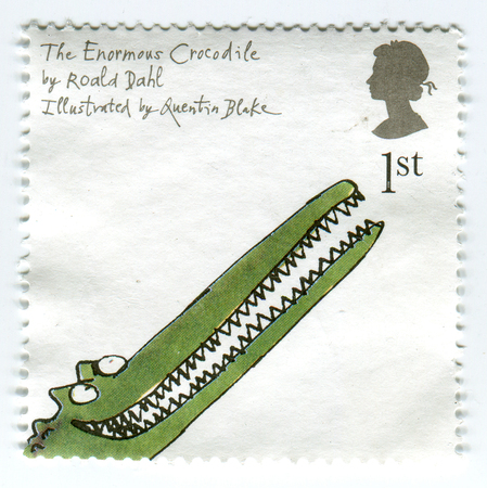 torn: GOMEL, BELARUS, APRIL 10, 2017. Stamp printed in UK shows image of  The Enormous Crocodile by Roald Dahl.