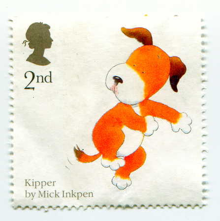 torn: GOMEL, BELARUS, APRIL 10, 2017. Stamp printed in UK shows image of  The Kipper by Mick Inkpen. Editorial