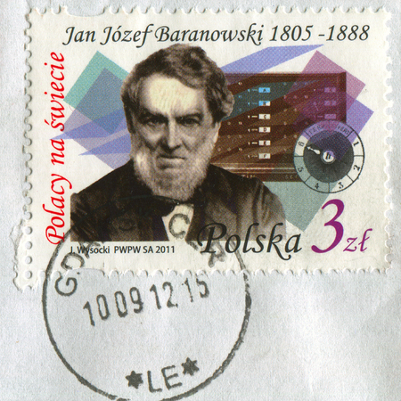 GOMEL, BELARUS, APRIL 16, 2017. Stamp printed in Poland shows image of  The Jan Jozef Baranowski is a Polish economist and financier, nobleman, linguist, engineer and eminent inventor of the Great Emigration, circa 2011. Editorial