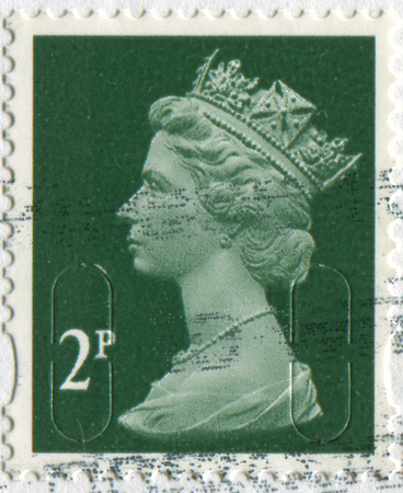 philately: GOMEL, BELARUS, APRIL 17, 2017. Stamp printed in UK shows image of  The Elizabeth II has been Queen of the United Kingdom, Canada, Australia, and New Zealand, circa 2000.