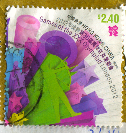GOMEL, BELARUS, APRIL 18, 2017. Stamp printed in Hong Kong, China shows image of  The Games of the 30 olympiad London 2012, circa 2012.
