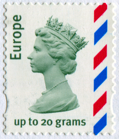 GOMEL, BELARUS, APRIL 17, 2017. Stamp printed in UK shows image of  The Elizabeth II has been Queen of the United Kingdom, Canada, Australia, and New Zealand, circa 2000.