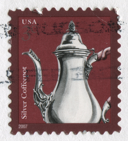 philately: GOMEL, BELARUS, APRIL 18, 2017. Stamp printed in USA shows image of  The Silver Coffeepot, circa 2007.