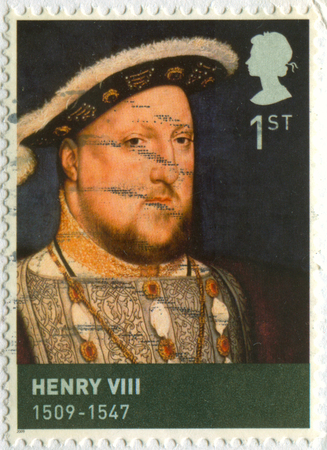philately: GOMEL, BELARUS, APRIL 18, 2017. Stamp printed in UK shows image of  The Henry VIII (28 June 1491 - 28 January 1547) was King of England, circa 2009.