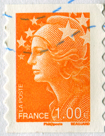GOMEL, BELARUS, APRIL 20, 2017. Stamp printed in France shows image of  The Girl in orange, circa 2000. Editorial