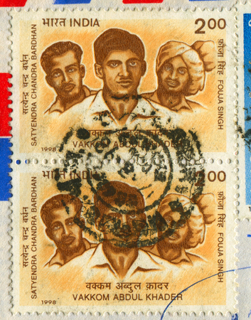 prem: GOMEL, BELARUS, APRIL 20, 2017. Stamp printed in India shows image of  The Abdul Khader, better known by his stage name Prem Nazir, was an Indian film actor best known for his work in Malayalam cinema, circa 1998. Editorial