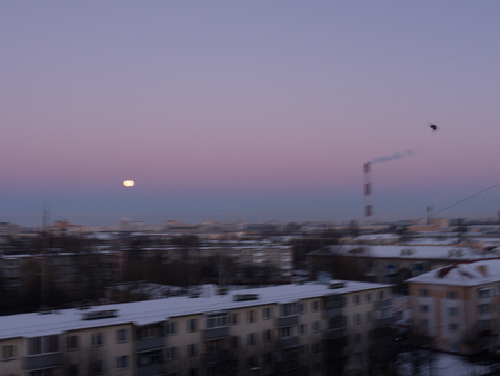fuming: The city outdoor Factory chimneys and moon.