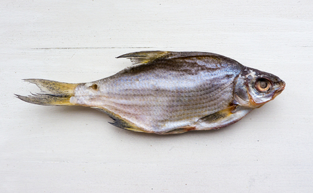 The Dried Fish on a white background.