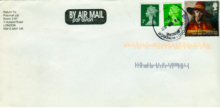 old envelope: GOMEL, BELARUS - AUGUST 12, 2017: Old envelope which was dispatched from England to Gomel, Belarus, August 12, 2017.