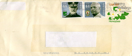 old envelope: GOMEL, BELARUS - AUGUST 12, 2017: Old envelope which was dispatched from USA to Gomel, Belarus, August 12, 2017. Editorial