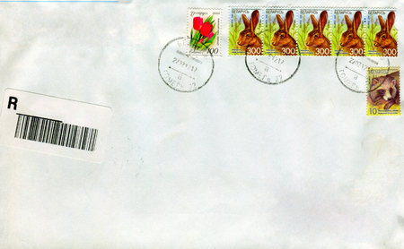 old envelope: GOMEL, BELARUS - AUGUST 12, 2017: Old envelope which was dispatched from Belarus to Gomel, Belarus, August 12, 2017. Editorial