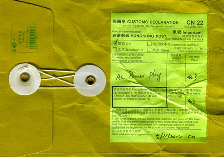 GOMEL, BELARUS - AUGUST 12, 2017: Old envelope which was dispatched from Hong Kong to Gomel, Belarus, August 12, 2017.