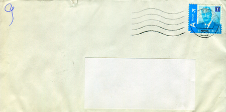 old envelope: GOMEL, BELARUS - AUGUST 12, 2017: Old envelope which was dispatched from Belgium to Gomel, Belarus, August 12, 2017. Editorial