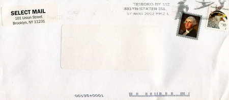 GOMEL, BELARUS - AUGUST 12, 2017: Old envelope which was dispatched from USA to Gomel, Belarus, August 12, 2017. Editorial