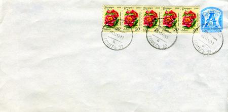 GOMEL, BELARUS - AUGUST 12, 2017: Old envelope which was dispatched from Belarus to Gomel, Belarus, August 12, 2017. Editorial