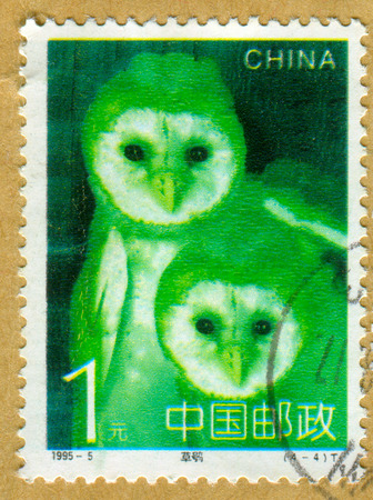 perforated: GOMEL, BELARUS, 27 OCTOBER 2017, Stamp printed in China shows image of the Owls, circa 1995.