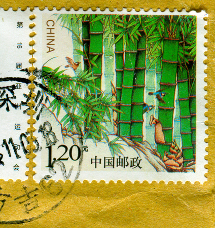 GOMEL, BELARUS, 27 OCTOBER 2017, Stamp printed in China shows image of the Bamboo, circa 2017.