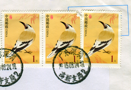 GOMEL, BELARUS, 27 OCTOBER 2017, Stamp printed in China shows image of the Birds, circa 2017. Editorial