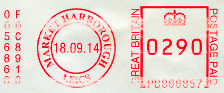 GOMEL, BELARUS, 23 NOVEMBER 2017, Stamp printed in UK shows image of the Postage Paid GB, circa 2014. Editorial