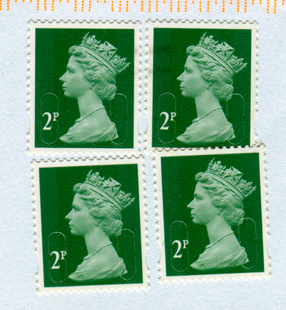 GOMEL, BELARUS, 23 NOVEMBER 2017, Stamp printed in UK shows image of the Elizabeth II has been Queen of the United Kingdom, Canada, Australia, and New Zealand, circa 2017.