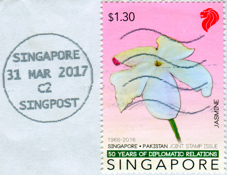 GOMEL, BELARUS, 3 DECEMBER 2017, Stamp printed in Singapore shows image of the Jasmine, circa 2016. Editorial