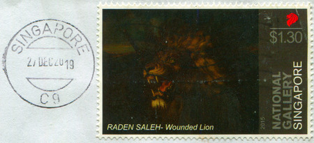 GOMEL, BELARUS, 3 DECEMBER 2017, Stamp printed in Singapore shows image of the Raden Saleh - Wounded Lion, circa 2015. Editorial