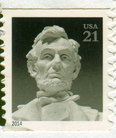 GOMEL, BELARUS, 27 NOVEMBER 2017, Stamp printed in USA shows image of the Abraham Lincoln (February 12, 1809 - April 15, 1865) was an American statesman and lawyer who served as the 16th President of the United States, circa 2014.