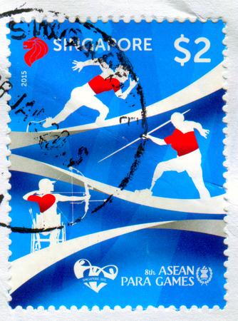 GOMEL, BELARUS, 3 DECEMBER 2017, Stamp printed in Singapore shows image of the 8th Asean Para Games, circa 2015.