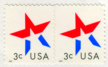 GOMEL, BELARUS, 27 NOVEMBER 2017, Stamp printed in USA shows image of the American Flag, circa 2002.
