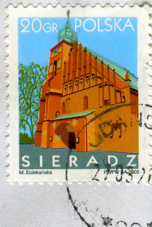 GOMEL, BELARUS, 30 NOVEMBER 2017, Stamp printed in Poland shows image of the Town Sieradz, circa 2005.