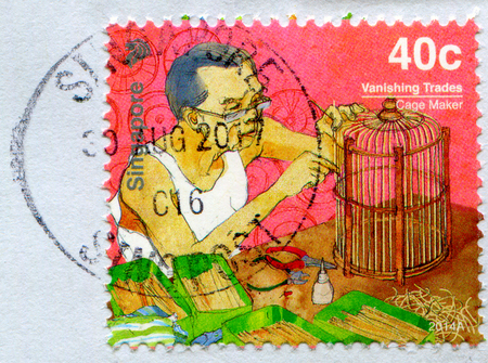 GOMEL, BELARUS, 3 DECEMBER 2017, Stamp printed in Singapore shows image of the Cage Maker, circa 2014.