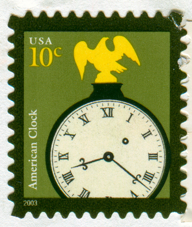 GOMEL, BELARUS, 27 NOVEMBER 2017, Stamp printed in USA shows image of the American Clock, circa 2003. Editorial