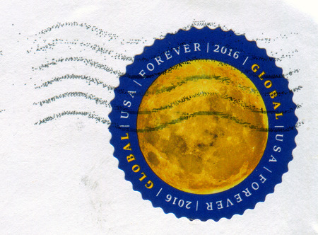 GOMEL, BELARUS, 27 NOVEMBER 2017, Stamp printed in USA shows image of the Moon, circa 2016.