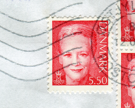 GOMEL, BELARUS, 29 NOVEMBER 2017, Stamp printed in Denmark shows image of the Margrethe II is the Queen of Denmark, circa 2017. Editorial