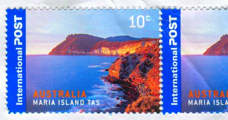 GOMEL, BELARUS, 5 DECEMBER 2017, Stamp printed in Australia shows image of the Maria Island Tas, circa 2017. Editorial