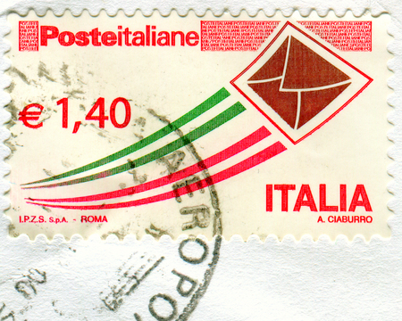 GOMEL, BELARUS, 4 DECEMBER 2017, Stamp printed in Italy shows image of the Postage stamp, circa 2017.