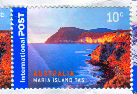 GOMEL, BELARUS, 5 DECEMBER 2017, Stamp printed in Australia shows image of the Maria Island Tas, circa 2017. Editorial