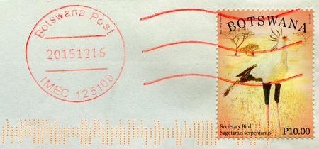 GOMEL, BELARUS, 5 DECEMBER 2017, Stamp printed in Botswana shows image of the Secretary Bird, circa 2014.