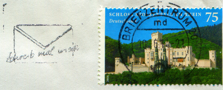 GOMEL, BELARUS, 15 DECEMBER 2017, Stamp printed in Germany shows image of the Stolzenfels Castle is a former, medieval fortress castle  turned into a palace, near Koblenz on the left bank of the Rhine, circa 2014.