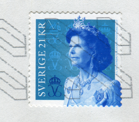 GOMEL, BELARUS, 6 DECEMBER 2017, Stamp printed in Sweden shows image of the Queen Silvia of Sweden is the spouse of King Carl XVI Gustaf, circa 2017.