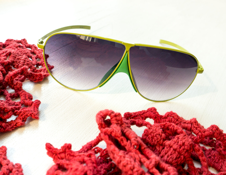 GOMEL, BELARUS - AUGUST 18, 2018: JeeVice sunglasses. Manufactured in Italy with high-quality materials and attention to detail, JeeVice creates luxurious fashion eyewear, exclusively for women.